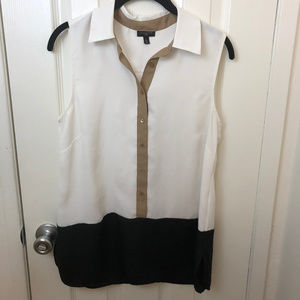 Talbots white, black, tan colorblock blouse, M/P